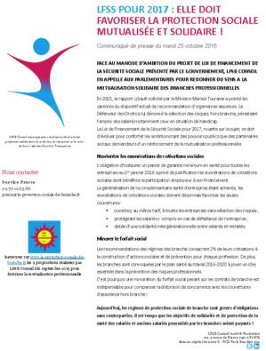 """CP du 25/10/2016 : """" LFSS pour 2017: elle doit favoriser la protection sociale mutualisée et solidaire ! """""""