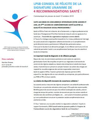 """CP du 12/10/2015 : """" LPSB Conseil se félicite de la signature unanime de 4 recommandations Santé! """""""