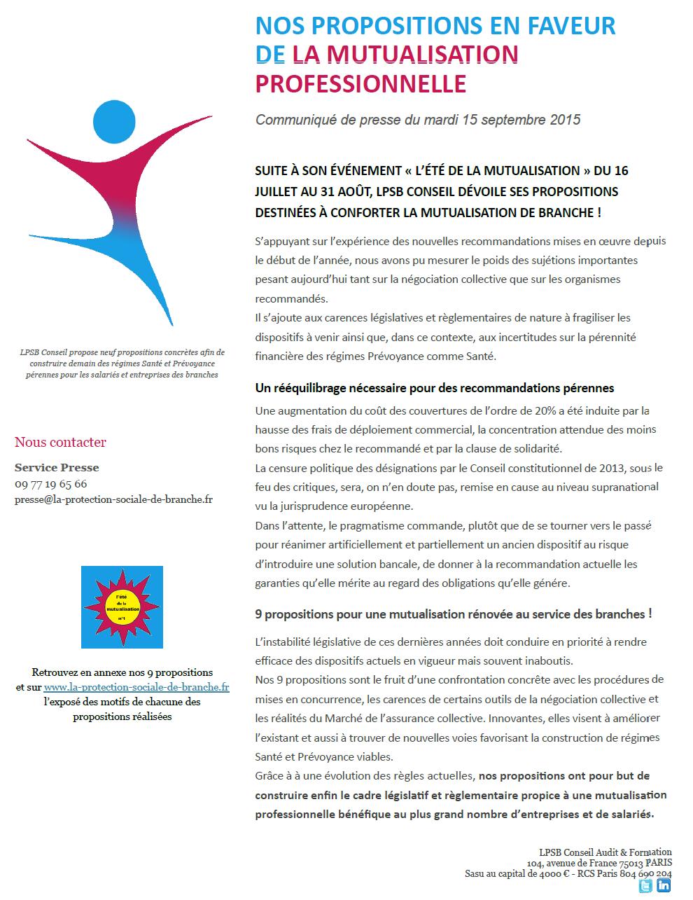 """CP du 15/09/2015 : """"Nos propositions en faveur de la mutualisation professionnelle"""""""