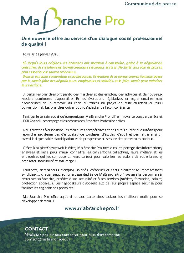 """CP commun EXA - LPSB Conseil du 11/02/2016 : """"Ma Branche Pro : une nouvelle offre au service d'un dialogue social professionnel de qualité !"""""""